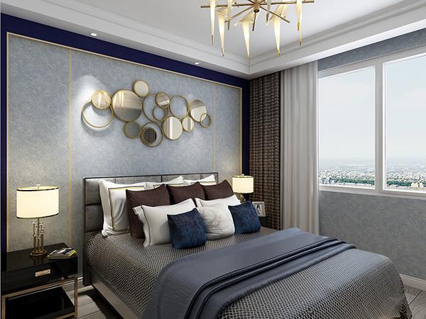 现代卧室艺术漆效果图